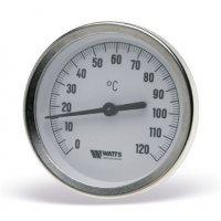 """Термометр биметаллический Watts F+R801 (1/2"""", 120С°, d.к/l.г 100x75 мм.) c пог. гильзой 10006071"""