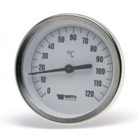 """Термометр биметаллический Watts F+R801 (1/2"""", 120С°, d.к/l.г 63x100 мм.) c пог. гильзой 10005811"""