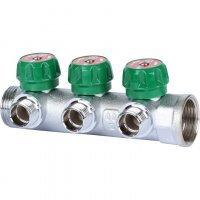"""Коллектор регулирующий 1"""" x 1/2"""" на 3 отвода, плоское уплотнение Stout SMB-6849-011203"""