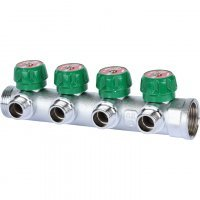 """Коллектор регулирующий 1"""" x 1/2"""" на 4 отвода, плоское уплотнение Stout SMB-6849-011204"""