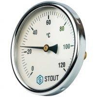 "Термометр биметаллический DN 100 мм гильза 50 мм 1/2"" 120°С Stout SIM-0001-105015"