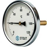 "Термометр биметаллический DN 100 мм гильза 75 мм 1/2"" 120°С Stout SIM-0001-107515"