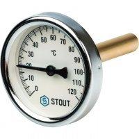 "Термометр биметаллический DN 63 мм гильза 75 мм 1/2"" 120°С Stout SIM-0001-637515"