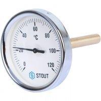 "Термометр биметаллический DN 80 мм гильза 100 мм 1/2"" 120°С Stout SIM-0001-801015"