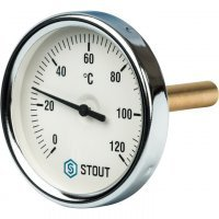 "Термометр биметаллический DN 80 мм гильза 75 мм 1/2"" 120°С Stout SIM-0001-807515"