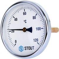 "Термометр биметаллический DN 100 мм гильза 100 мм 1/2"" 120°С Stout SIM-0001-101015"