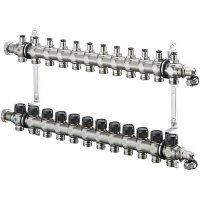"""Коллектор Oventrop Multidis SF 1"""" 12хG 3/4 1404062 (12 контуров) с вентильными вставками"""
