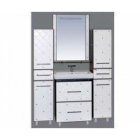 Комплект мебели прямая 60 см, бело-черная кожа, Misty Гранд Lux 60 Cristallo Л-Грл01060-239ПрКс-K
